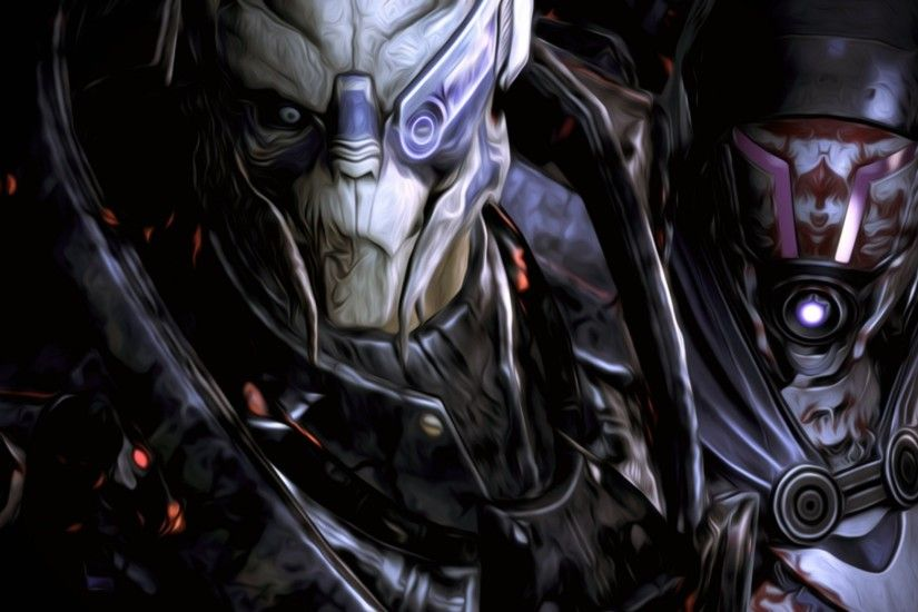 Preview wallpaper mass effect, garrus, tali 2560x1440