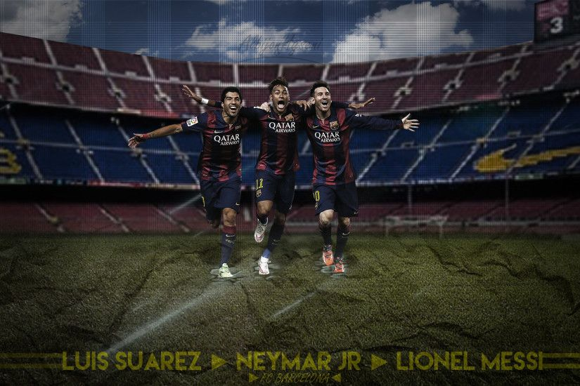 ... MESSI SUAREZ NEYMAR /// Wallpaper by AlbioNN2