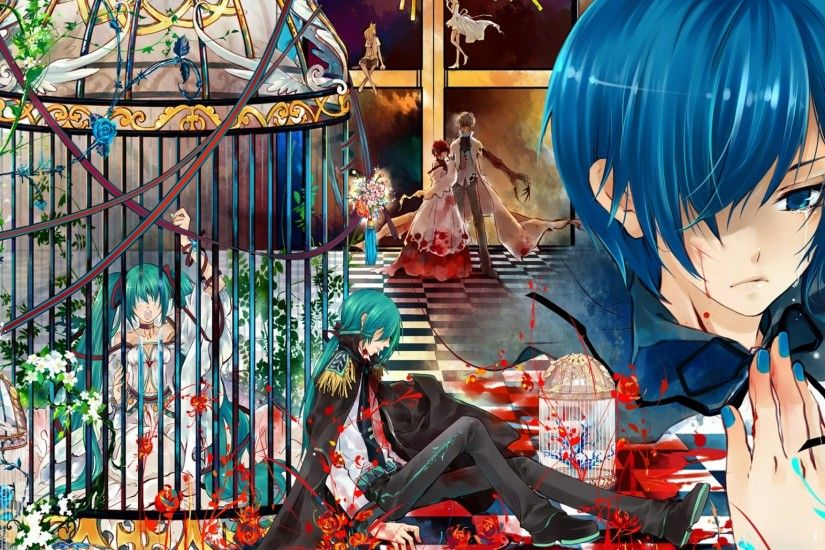 2048x1152 Wallpaper vocaloid, kaito, tears, cell, blood