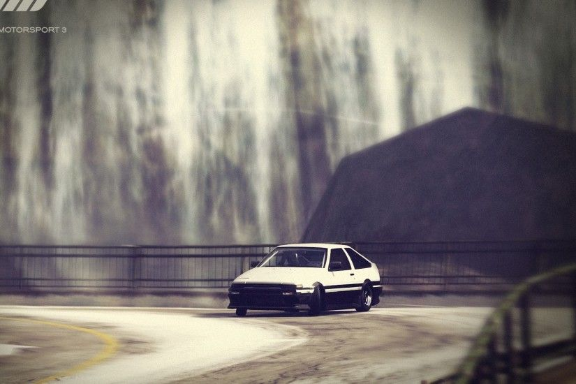 Preview wallpaper forza motorsport, car, road, drift, fence 1920x1080