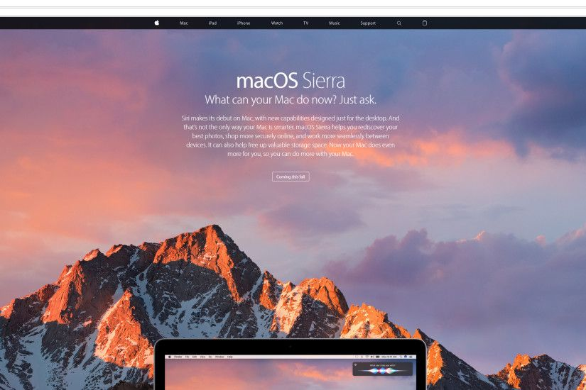 Apple's macOS Sierra page can't even fill the background on Ultra WQHD  Displays