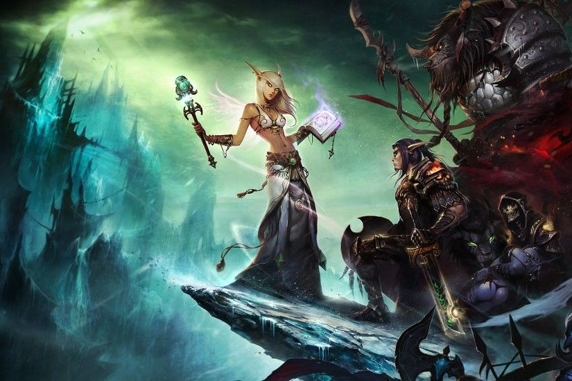 1920x1080 Wallpaper world of warcraft, female, sky, clouds, book