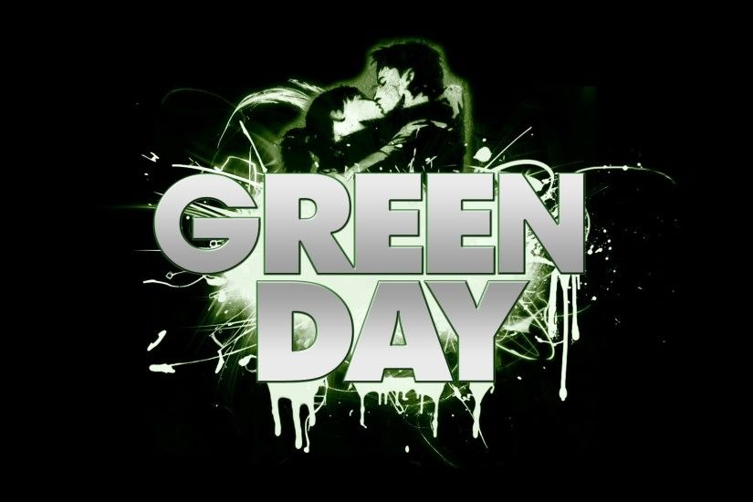 1920x1080 Wallpaper green day, letters, darkness, sign, kiss