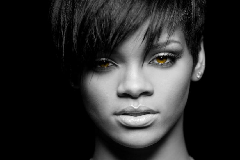 Preview wallpaper rihanna, girl, eyes, face, haircut 1920x1080