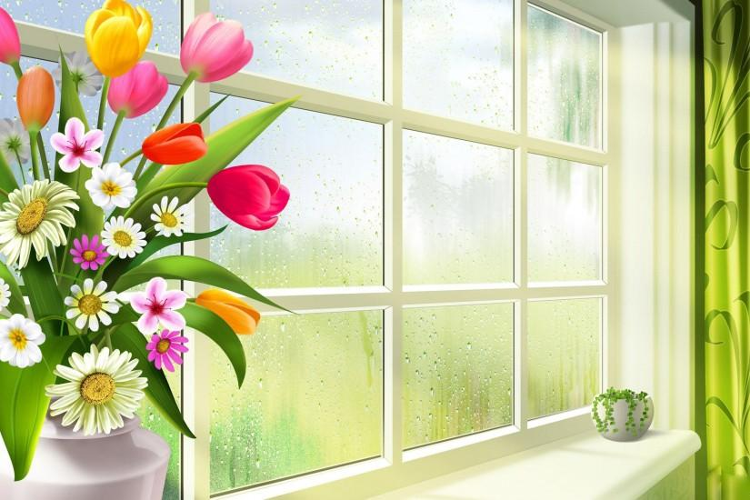 Spring window wallpapers | Spring window stock photos