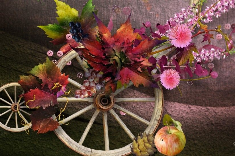 Berries Fall Wheels Rustic Wall Country Autumn Plaster Apple Wheel Cones  Ribbons Leaves Wagon Buttons Flowers Flower Wallpaper Pic - 1920x1080