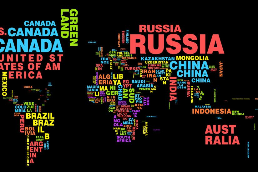 World Map Typography Wallpaper 3660