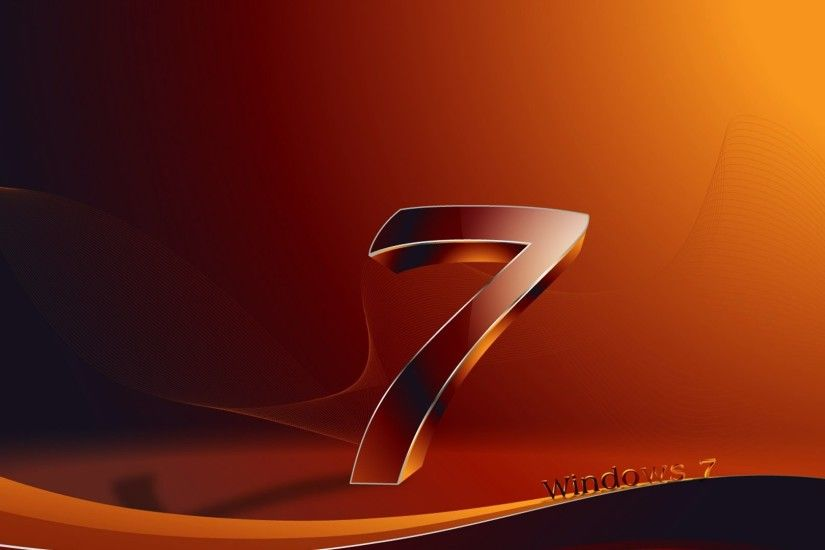 1920x1080 Wallpaper windows 7, os, orange, black