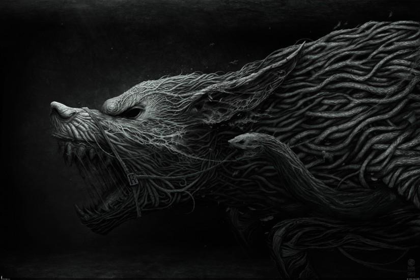 To the Norse fans, the story of the binding of Fenrir.