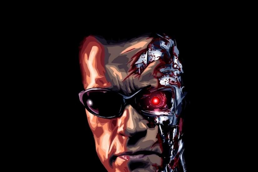 Preview wallpaper terminator, robot, face, glasses, scalp, black background  2048x2048