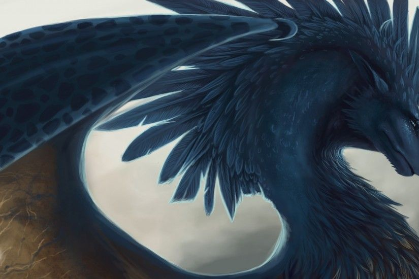 Preview wallpaper dragon, fantasy, art, feathers 1920x1080
