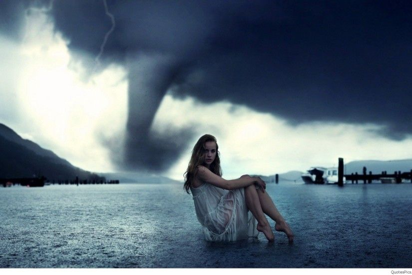Alone-Girl-In-Tornado-Wallpaper