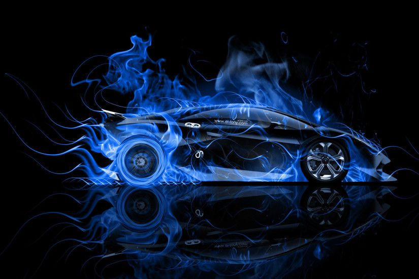 Awesome Lamborghini Sesto Elemento Side Blue Fire Abstract