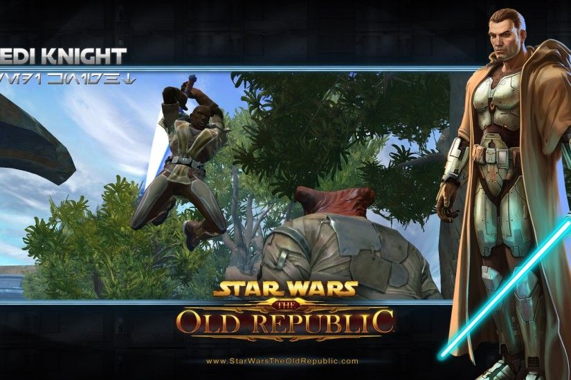 Preview wallpaper star wars the old republic, jedi knight, character,  lightsaber, jump