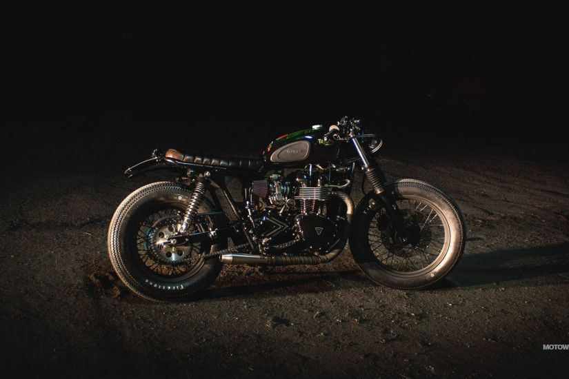 Wallpapers custom motorcycle Iron Pirate Garage Brat Vintage Race Triumph  Bonneville ...