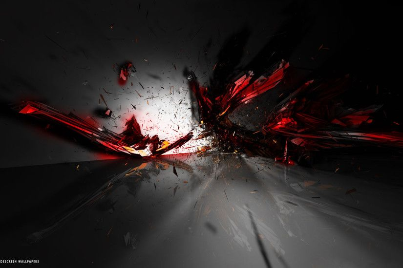 3d abstract red black explosion impressive hd widescreen wallpaper