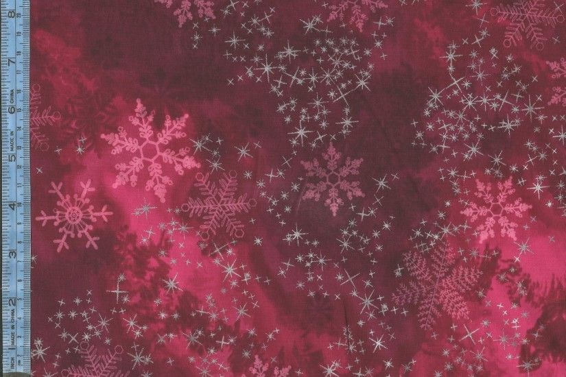 Sugar Plum - snowflakes and metallic silver stars on mottled red and bright  pink background