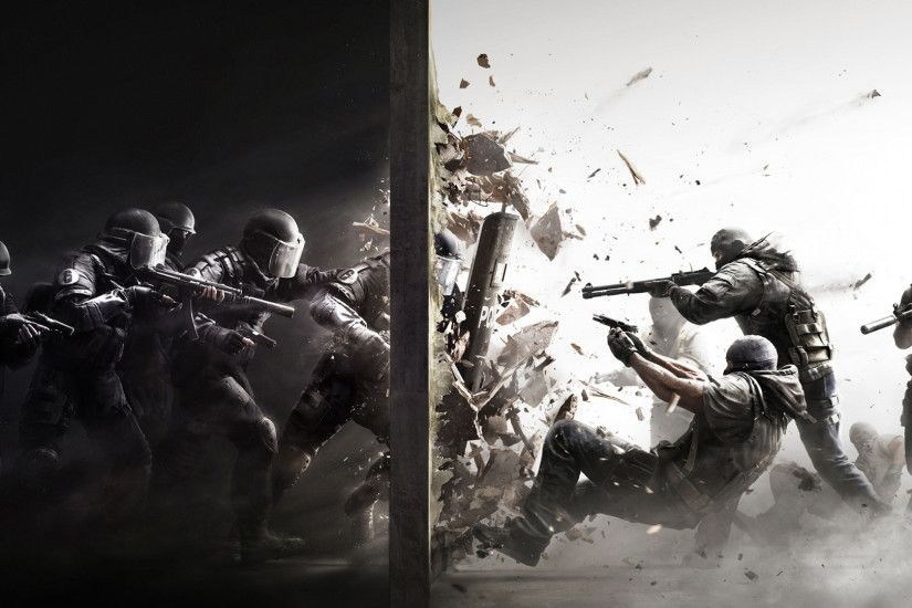 Police Terrorists Guns Debris SWAT Rainbow Six Siege Video Games