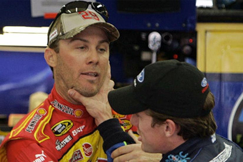 The confrontation led to a scuffle that left a dent in the hood of  Harvick's car and ended with Edwards' grabbing Harvick in a chokehold  before the two were ...