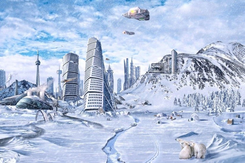 3840x2160 Wallpaper planet, world, winter, snow, city, science fiction,  future