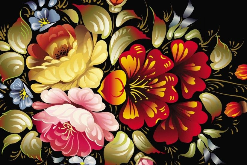 Beautiful and colorful artist's floral folk art painting on black vector  background – EPS.