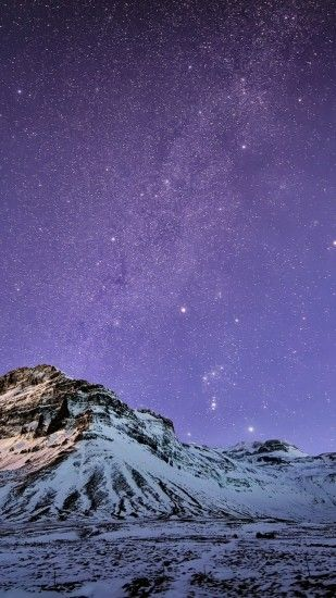 1440x2560 Wallpaper iceland, mountains, snow, night, lilac, sky, stars,