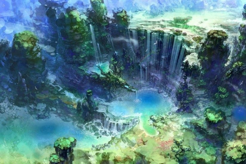 artwork, Fantasy Art, Waterfall, Water, Nature Wallpapers HD / Desktop and  Mobile Backgrounds