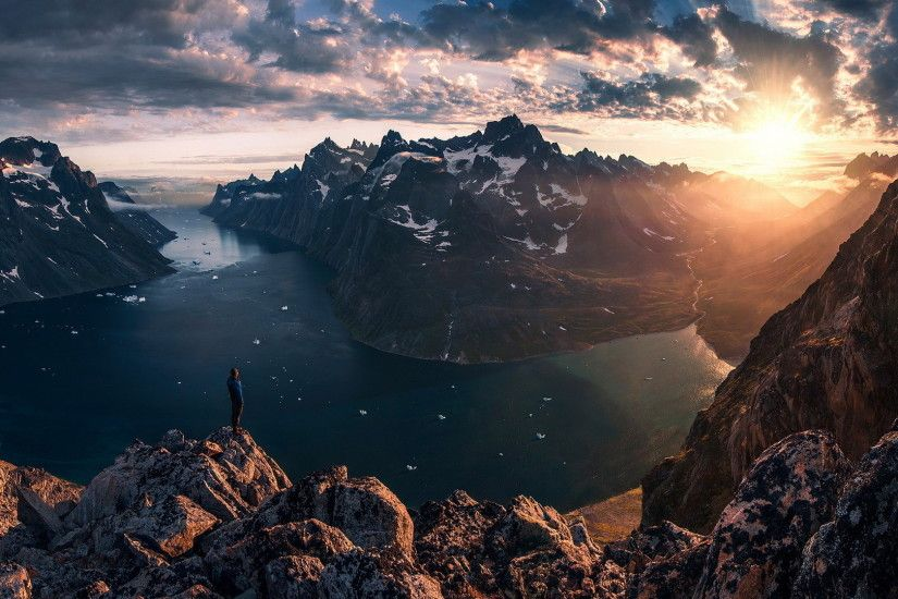greenland, view, sun, clouds, panorama, snowy peaks