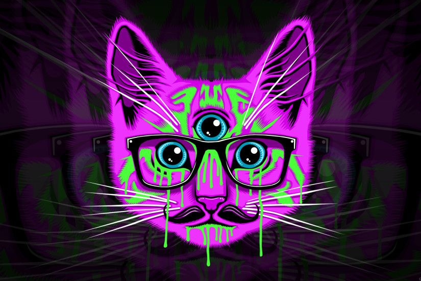 #glasses, #cat, #psychedelic, #mustache, wallpaper