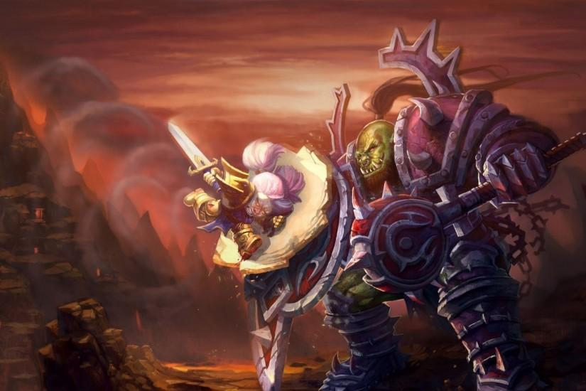 Preview wallpaper world of warcraft, wow, orc, warrior, dwarf, paladin  1920x1080