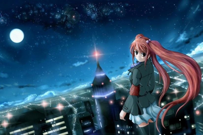 1920x1080 Wallpaper anime, girl, city, night, wind