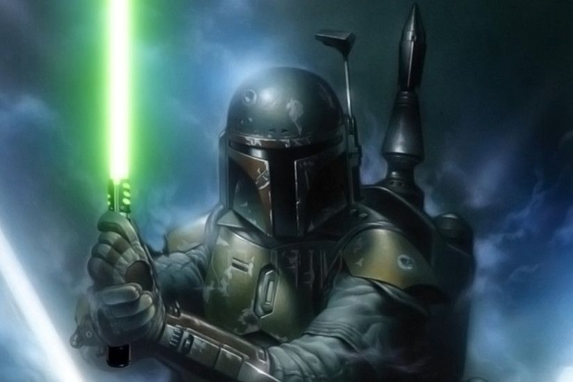 Download 2560x1440 Star Wars, Jango Fett, Explosion, Guns .