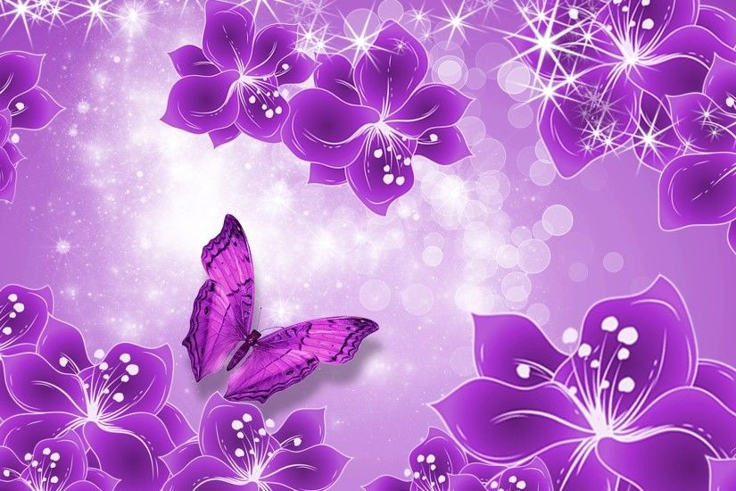 Pink and Purple Butterfly Wallpaper