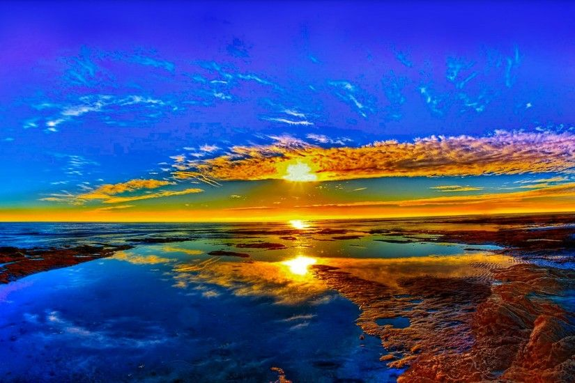Earth - Sunset Horizon Reflection Blue Beach Scenic Wallpaper
