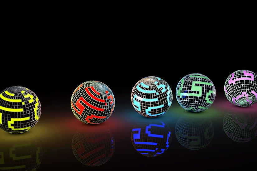 Colorful disco balls on the ground wallpaper