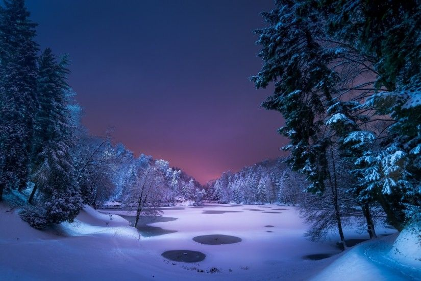night, Landscape, Snow, Ice, Winter, Trees, Nature Wallpapers HD / Desktop  and Mobile Backgrounds