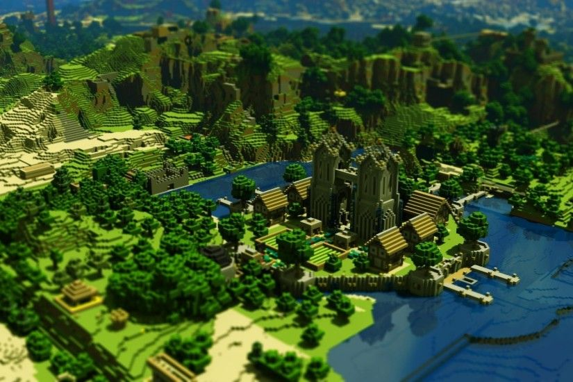 Preview wallpaper minecraft, trees, houses, mountains, water 2048x1152