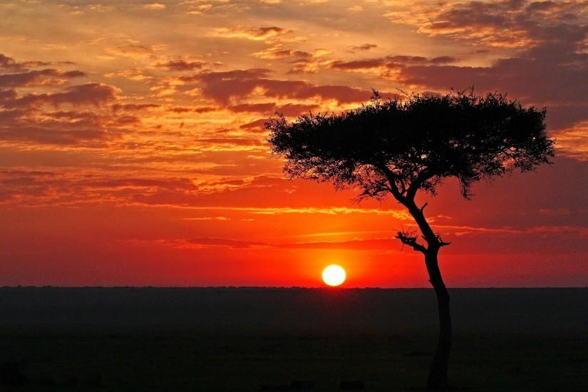 African Landscape Sunset Background Wallpaper