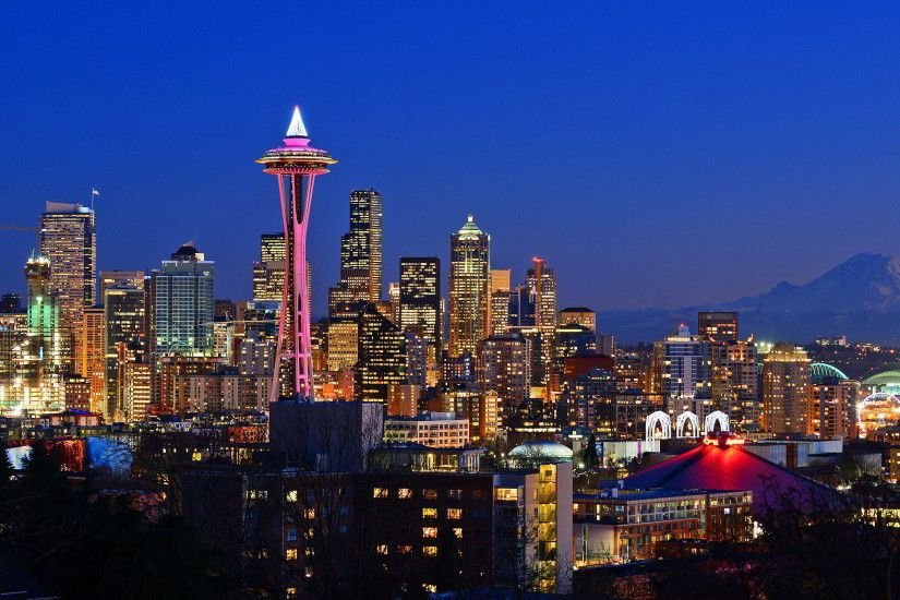 Seattle Skyline At Night Wallpaper