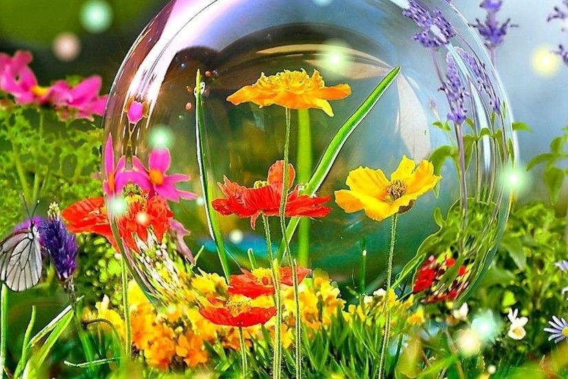 Yellow Flowers Colorful Spring Bubble Butterfly Computer Desktop Flower  Wallpaper Detail