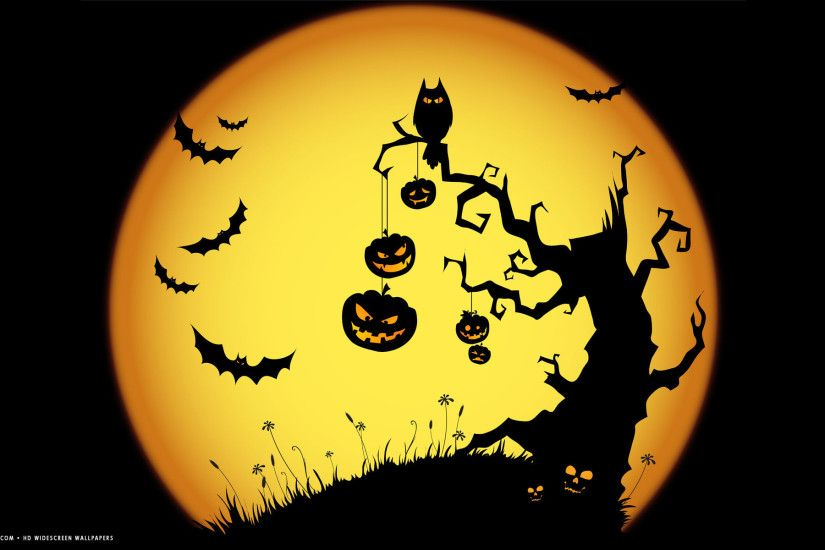 halloween scary night owl bats jack o lanterns tree yellow holiday hd  widescreen wallpaper