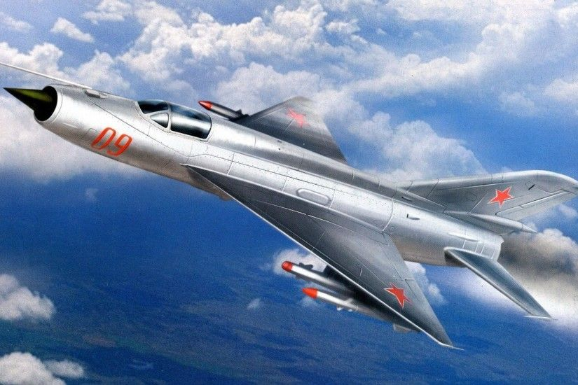 Wallpaper art, sky, clouds, mig-21, the product of e-