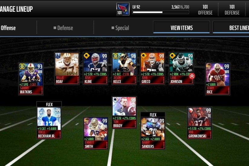My 101 Overall Team - Madden NFL Mobile Discussion - Madden NFL Mobile -  Madden NFL 18 Forums - Muthead