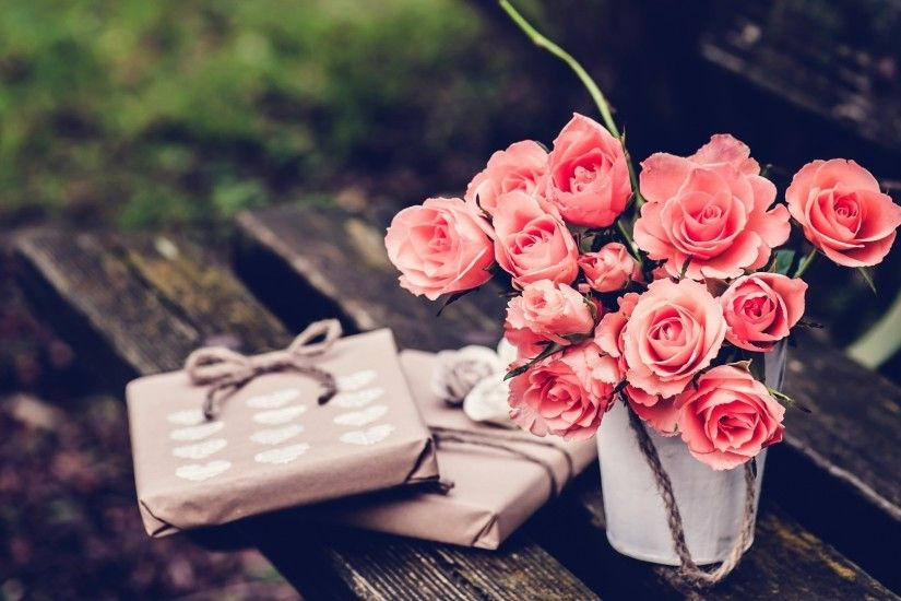... Bench, Rose, Flowers, Bouquets Wallpapers HD / Desktop .