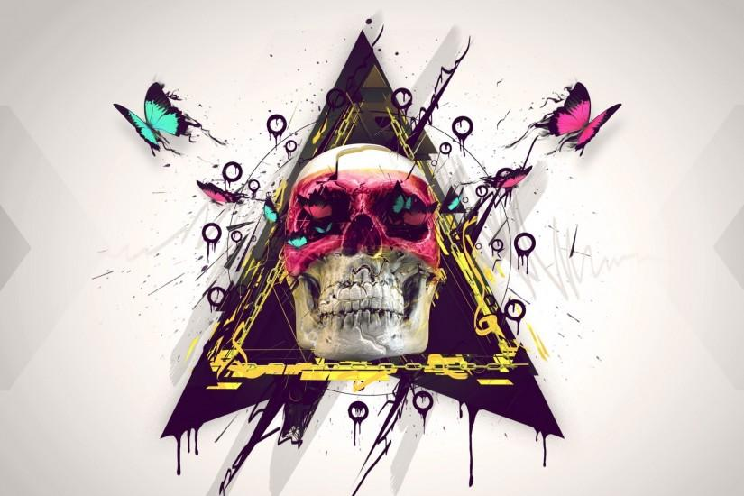 2048x1152 Wallpaper skull, paint, butterfly, triangle