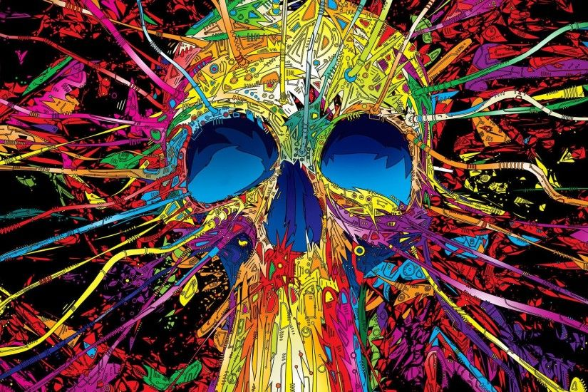 3D Multi Coloured Skull Wallpapers
