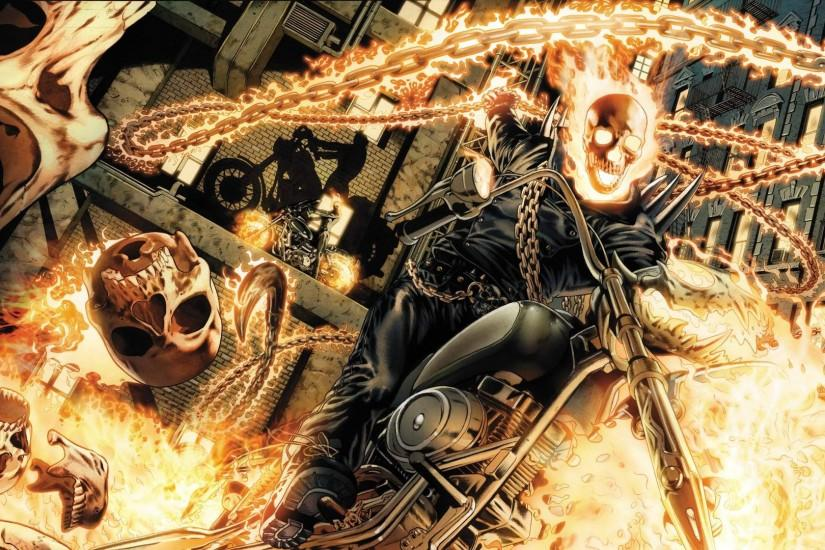 Download Ghost Rider Motorcycle Fire Flame Skull Chain wallpaper .