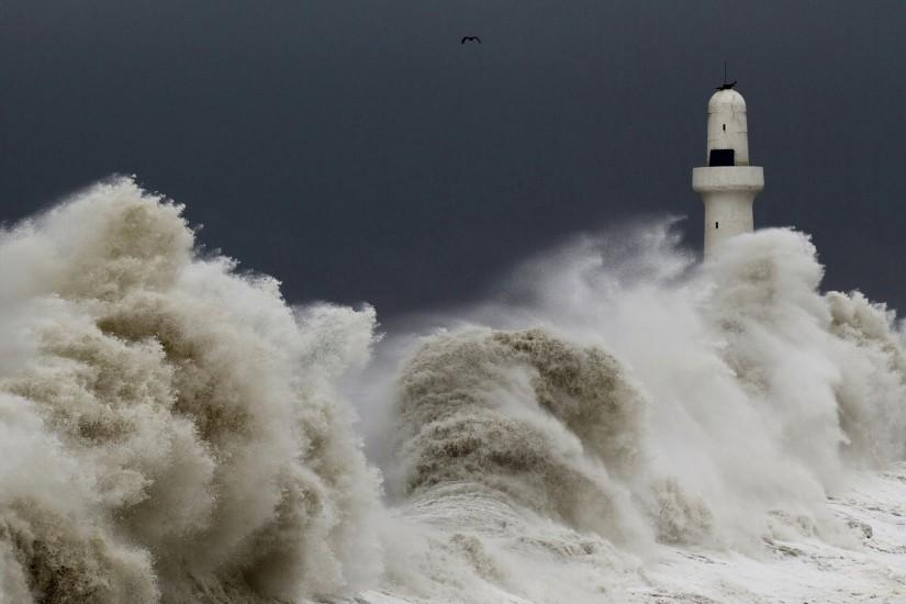 Preview wallpaper storm, tempest, lighthouse, sky, birds, waves 1920x1080