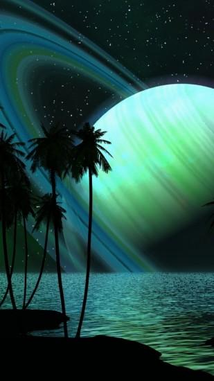 Preview wallpaper saturn, planet, palm trees, sky, light 1080x1920