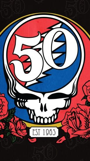 1080x1920 Wallpaper grateful dead, santa clara, skull, art, roses